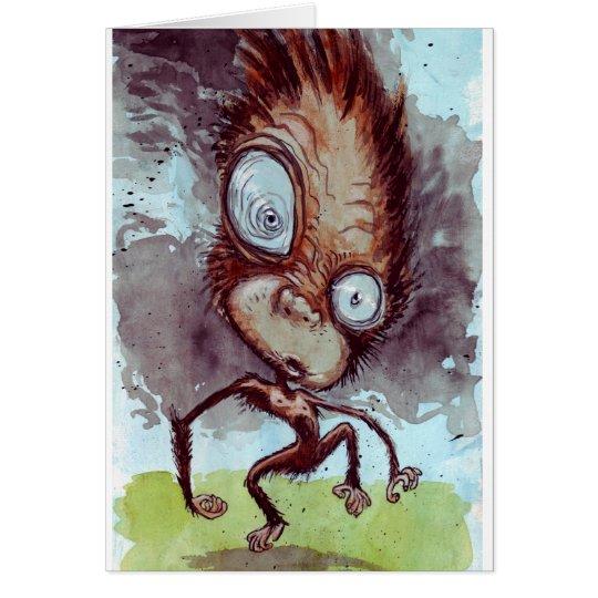 Mono feo salvaje tarjeta de felicitación