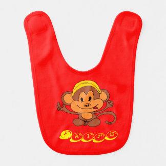 Mono juguetón lindo del bebé con el plátano babero para bebé