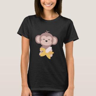 Mono lindo de Kawaii con la camiseta del plátano