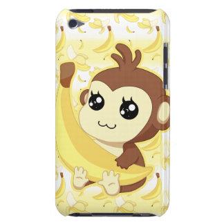 Mono lindo de Kawaii que sostiene el plátano iPod Case-Mate Cárcasa