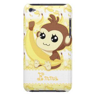 Mono lindo de Kawaii que sostiene el plátano Funda Para iPod De Barely There