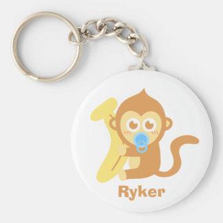Mono lindo del bebé del dibujo animado con el plát llavero redondo tipo chapa