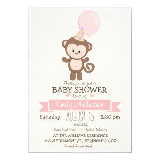 Mono lindo del chica, fiesta de bienvenida al bebé invitación 12,7 x 17,8 cm