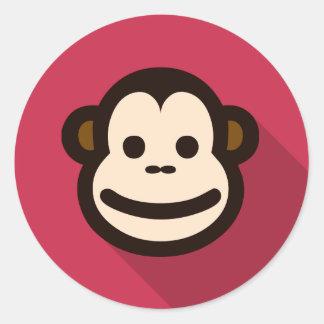 Mono lindo del diseño plano pegatina redonda