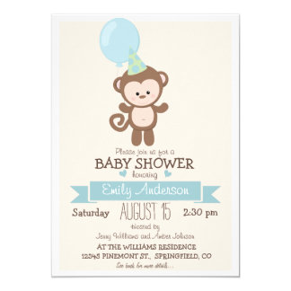 Mono lindo del muchacho, fiesta de bienvenida al invitación 12,7 x 17,8 cm