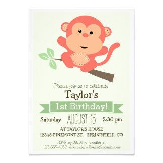 Mono lindo, fiesta del cumpleaños del niño animal invitación 12,7 x 17,8 cm