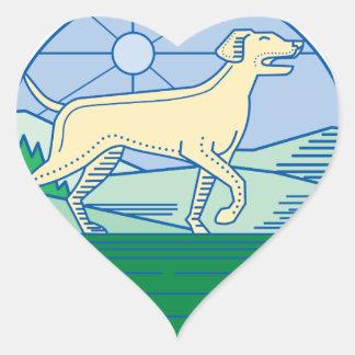Mono línea del perro inglés del indicador pegatina en forma de corazón