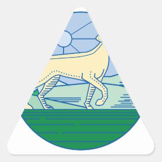 Mono línea del perro inglés del indicador pegatina triangular
