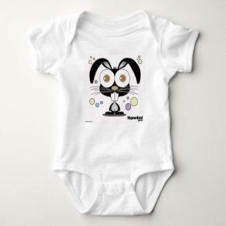 Mono negro del conejito body para bebé