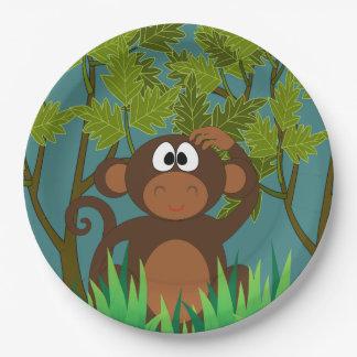 Mono perdido en la selva plato de papel