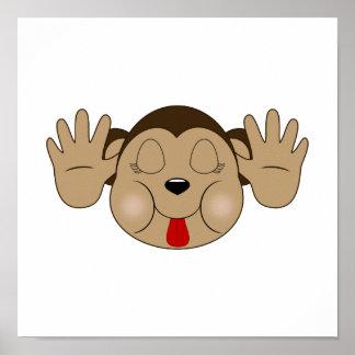 Mono que pega hacia fuera la lengua impresiones