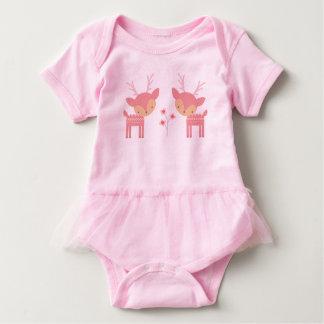 Mono rosado del bebé de los ciervos body para bebé