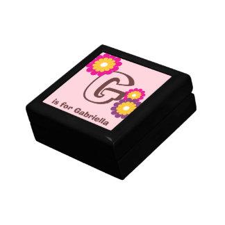 Monogram letter pink purple mod flower trinket box
