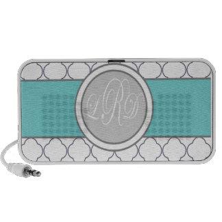 Monogram quatrefoil iPod altavoces