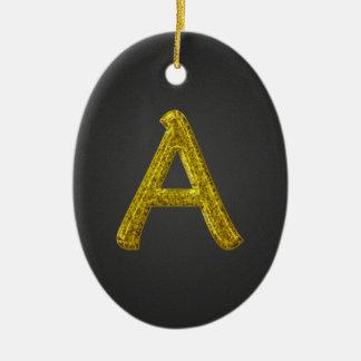 Monograma A del brillo del oro Adorno Navideño Ovalado De Cerámica