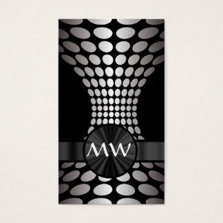 Monograma abstracto blanco y negro tarjeta de visita