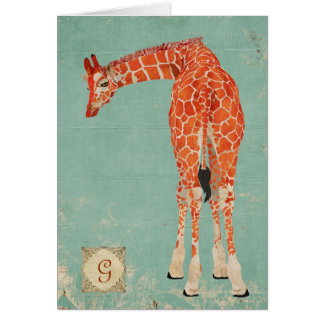 Monograma adornado ambarino Notecard de la jirafa Tarjeta Pequeña