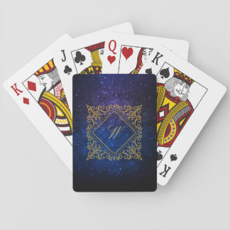 Monograma adornado del diamante en galaxia azul baraja de cartas