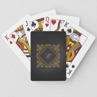Monograma adornado del diamante en la circular baraja de cartas