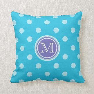 Monograma: Almohada púrpura y azul de la impresión