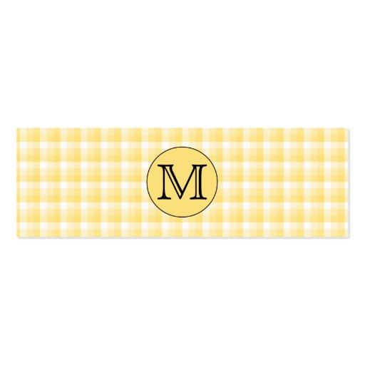 Monograma amarillo. Modelo de encargo de la letra  Tarjetas Personales