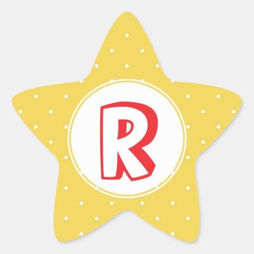 Monograma amarillo rojo del niño del lunar del calcomanía forma de estrella