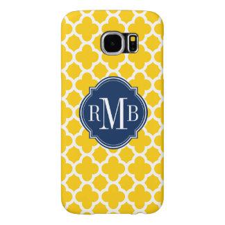 Monograma amarillo y blanco de Quatrefoil del Funda Samsung Galaxy S6