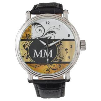 Monograma amarillo y negro en blanco reloj