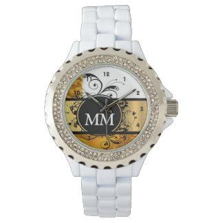 Monograma amarillo y negro en blanco reloj de pulsera
