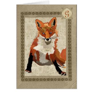 Monograma ambarino Notecard del Fox Tarjeton