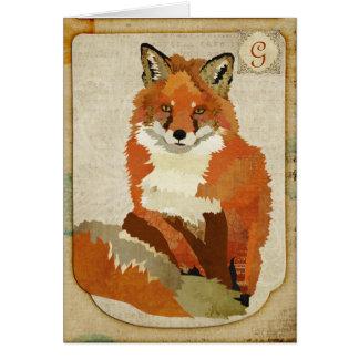 Monograma ambarino Notecard del vintage del Fox Felicitaciones