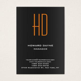 Monograma anaranjado gris negro llano moderno de tarjeta de negocios