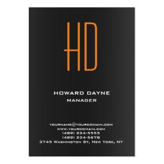 Monograma anaranjado gris negro llano moderno de tarjetas de visita grandes