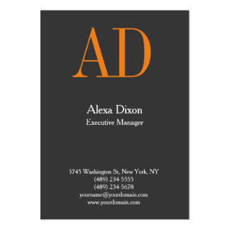 Monograma anaranjado gris profesional moderno tarjetas de visita grandes