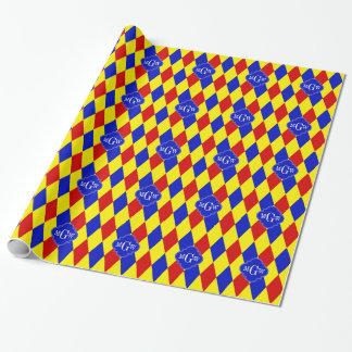 Monograma azul amarillo rojo de Quatrefoil 3 del Papel De Regalo