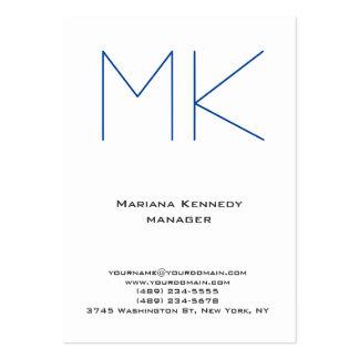 Monograma azul blanco simple llano único de moda tarjetas de visita grandes