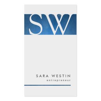Monograma azul BusinessCard del empresario del Tarjetas De Visita