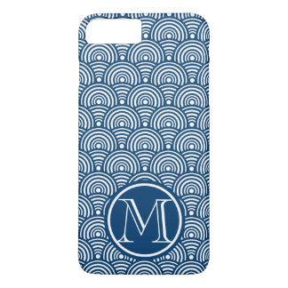 Monograma azul de las escalas de pescados funda iPhone 7 plus