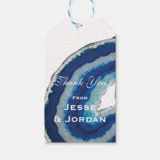 Monograma azul del boda de Geode Etiquetas Para Regalos