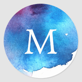 Monograma azul del boda de la acuarela del pegatina redonda