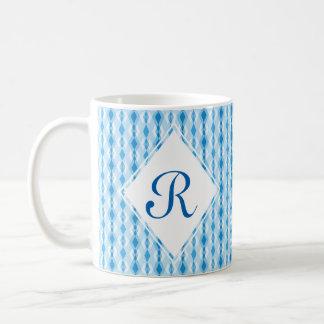 Monograma azul del diamante taza de café