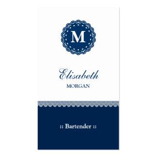 Monograma azul elegante del cordón del camarero plantillas de tarjetas personales
