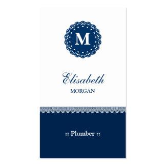 Monograma azul elegante del cordón del fontanero plantilla de tarjeta de visita