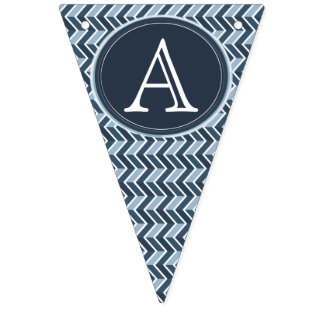 Monograma azul fresco del modelo de Chevron Banderines