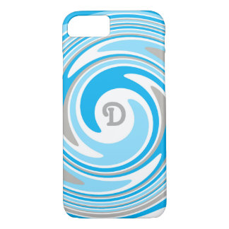 Monograma azul gris blanco del extracto del funda iPhone 7