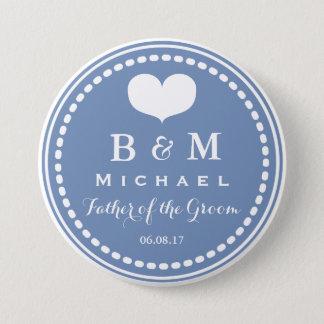 Monograma azul - padre del botón del boda del