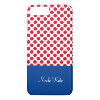 Monograma azul rojo femenino de los lunares funda iPhone 7 plus
