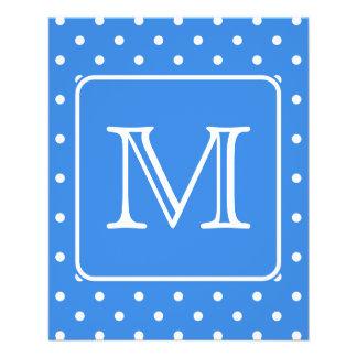 Monograma azul y blanco del modelo de lunar. Aduan Folleto 11,4 X 14,2 Cm