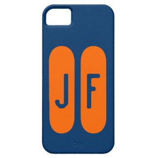 Monograma azul y naranja de plantilla de funda para iPhone SE/5/5s