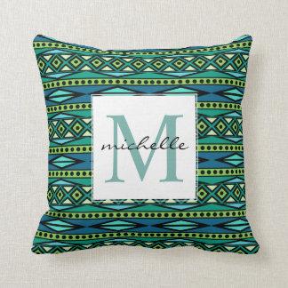 Monograma azul y verde azteca tribal geométrico cojín decorativo